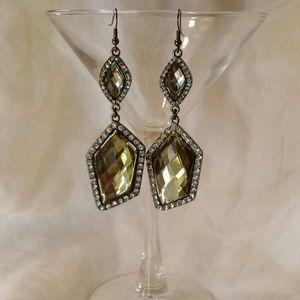 Hematite & crystal earrings set in blackened metal